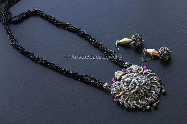 Krishna Black Beads Oxidized Necklace