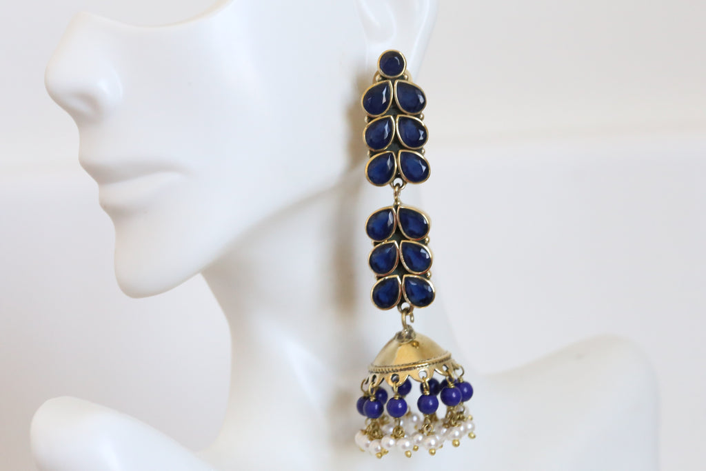 Blue AD Jhumka in Brass Finish