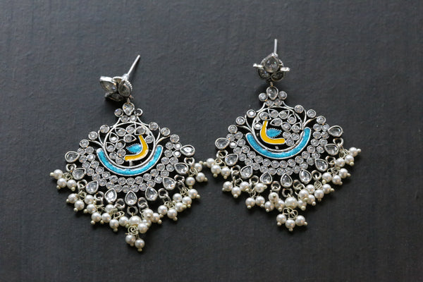 Layered Enamel Chandbaali - Blue Yellow