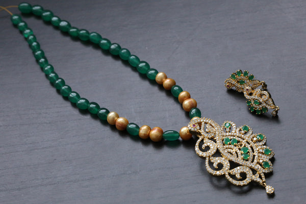 Contemporary Emerald CZ and Pearl Necklace