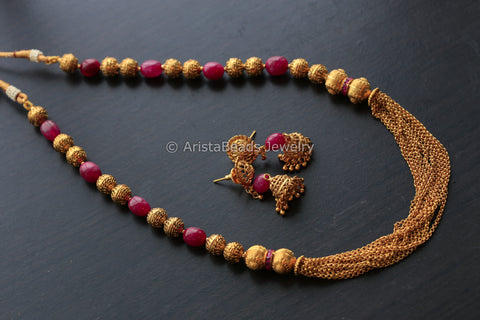 Gold Ruby Beads Gold Chain Set