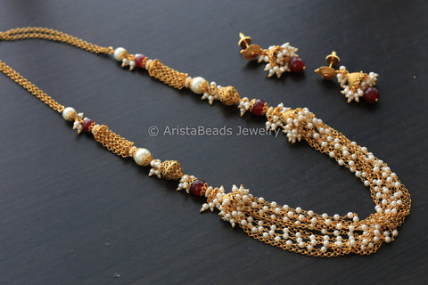 Ruby Pearl Beads Gold Chain Set