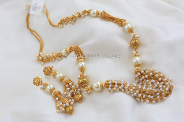 Layered Pearl Beads Gold Chain Set