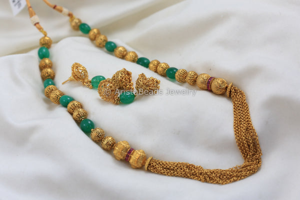 Gold Green Beads Gold Chain Set