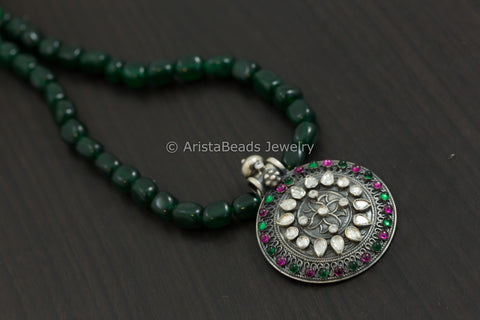 925 Silver Kundan Emerald Green Necklace