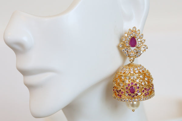 South Indian Ruby CZ jhumka