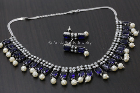 Oxidized Blue CZ Necklace