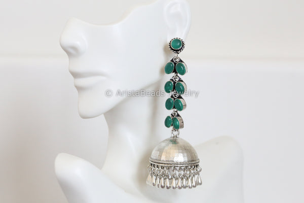 Green Oxidized Jhumka