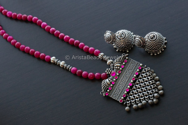 Ruby Pink Beads Oxidized Necklace