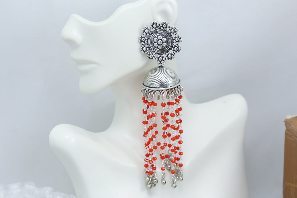 Oxidized Tassel Jhumka - Red