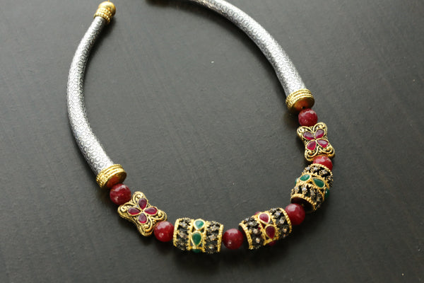 Oxidized Dualtone Jadau Hasli Necklace
