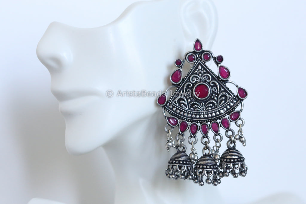 Oxidized Ruby Layered  Jhumka