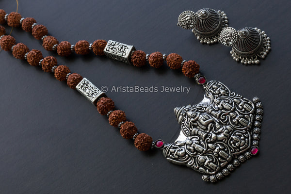 Rudhraksha Oxidized Krishna Necklace
