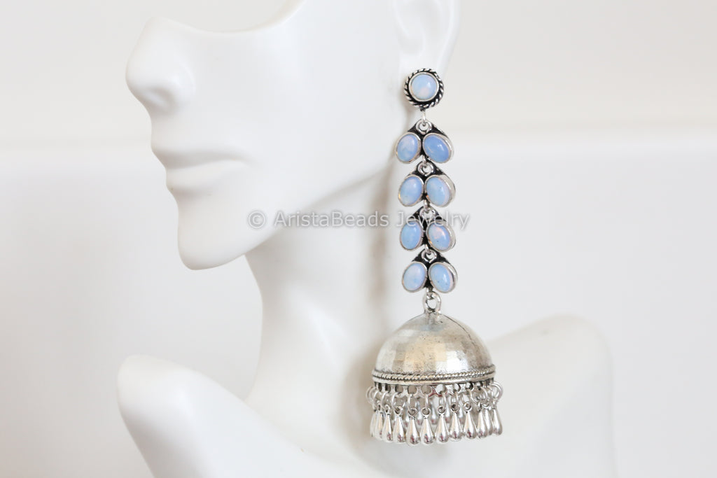 Long Oxidized Jhumka