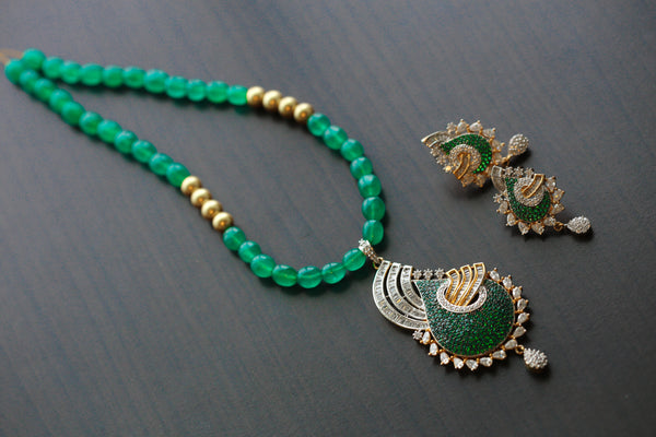 Contemporary Emerald CZ Pendant in Jade Mala