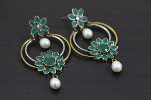 Victorian Emerald Chandbaali Earrings