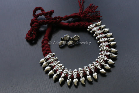 Red Peacock Tribal Thread Necklace