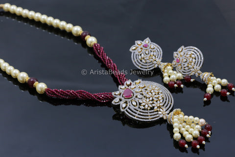 Contemporary Ruby CZ Necklace Set