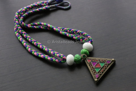 Vintage Glass Pendant in Multicolor Thread