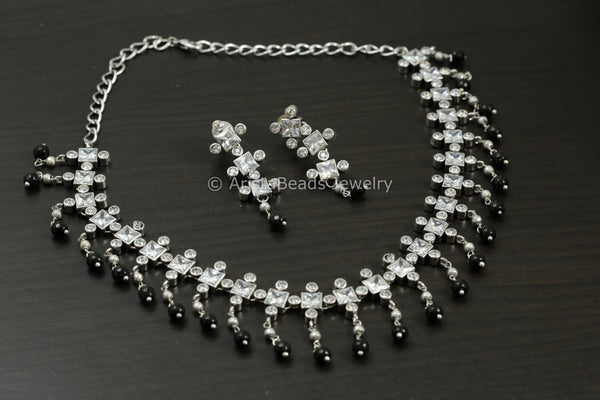 Designer Clear CZ Necklace Set