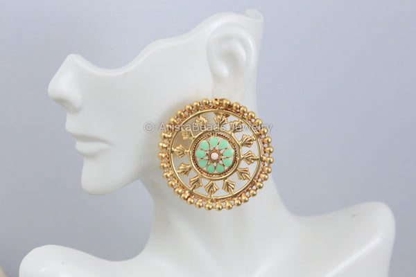 Large Filigree Mint Green Stud