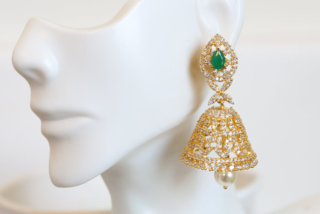 South Indian Emerald CZ jhumka