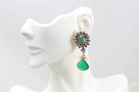 Emerald Victorian Stud Earrings