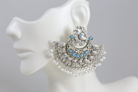 Peacock Turquoise White Metal Earrings