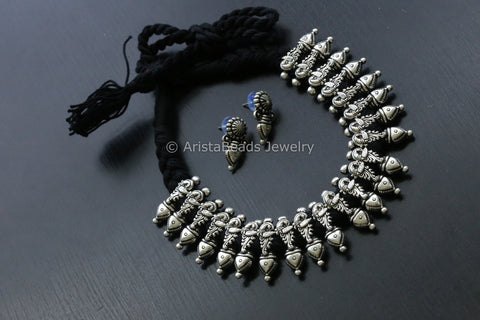 Black Tribal Thread Necklace