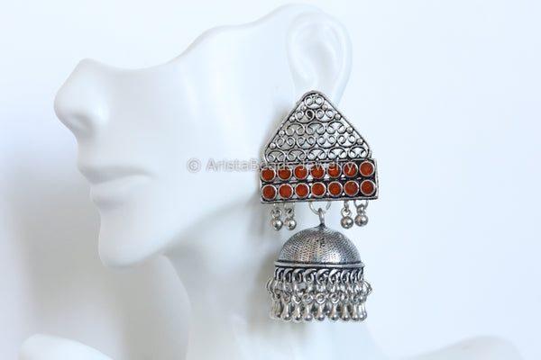 Oxidized Jhumka - Orange