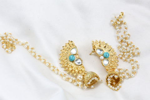 Turquoise Kundan Chandbaali With Ear Chains
