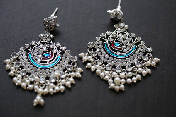 Enamel Chandbaali - Peacock Blue