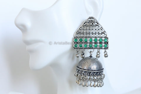Oxidized Jhumka - Green