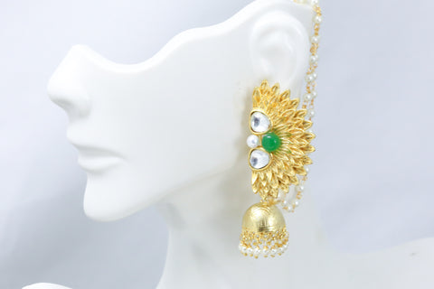 Green Kundan Earrings With Ear Chains