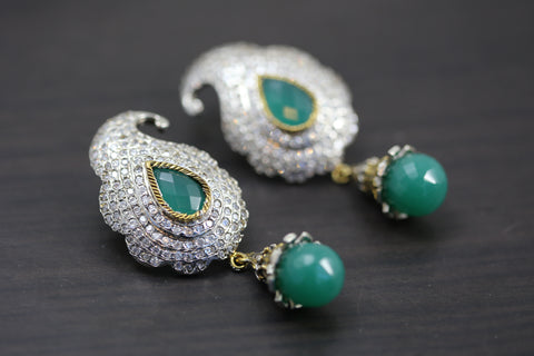 Green Paisley Victorian Earrings