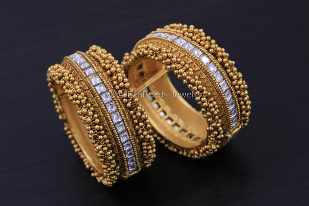 Antique Gold Kundan Jadau Bangle - Openable