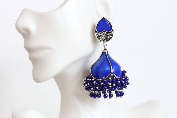 Large Blue Enamel Jhumka