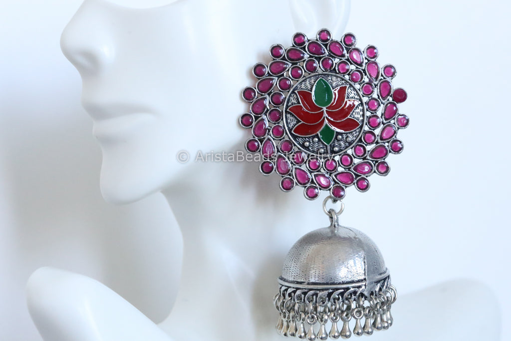 Large Stud Jhumka - Ruby