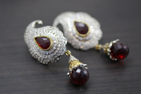 Dark Red Paisley Victorian Earrings