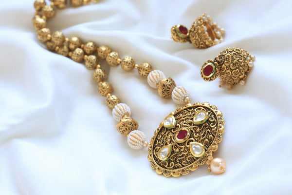 Antique Ruby Kundan Necklace Set - AristaBeads Jewelry - 1
