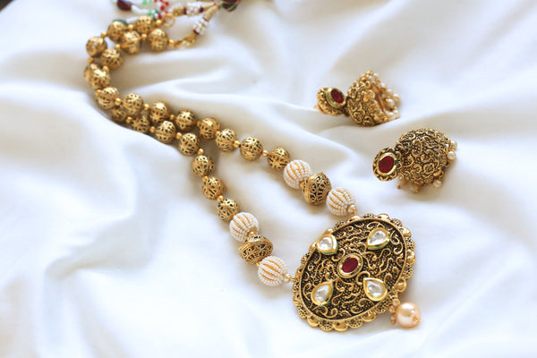 Antique Ruby Kundan Necklace Set - AristaBeads Jewelry - 2