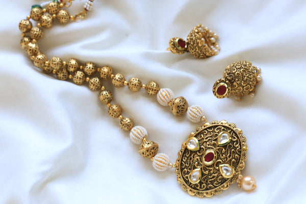 Antique Ruby Kundan Necklace Set - AristaBeads Jewelry - 3