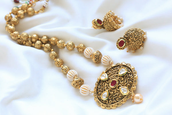 Antique Ruby Kundan Necklace Set - AristaBeads Jewelry - 4