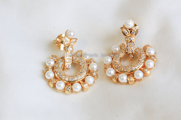 Uncut CZ Polki Earrings