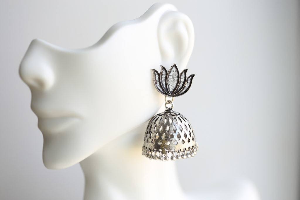 Lotus Oxidized Jhumka - AristaBeads Jewelry - 1