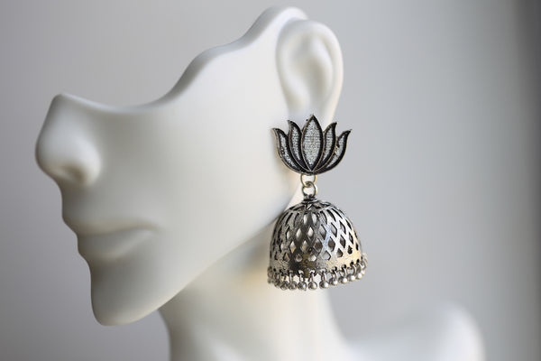 Lotus Oxidized Jhumka - AristaBeads Jewelry - 2