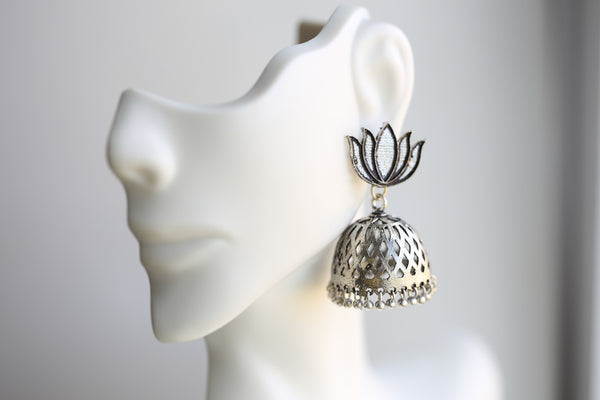 Lotus Oxidized Jhumka - AristaBeads Jewelry - 3