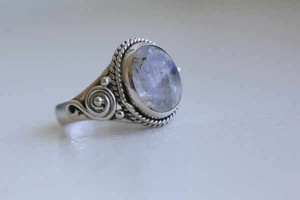 Rainbow Moonstone 925 Silver Ring - AristaBeads Jewelry - 1