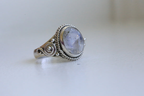 Rainbow Moonstone 925 Silver Ring - AristaBeads Jewelry - 2