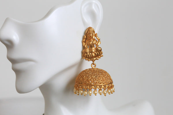 Dull Gold Temple Jhumka - AristaBeads Jewelry - 2